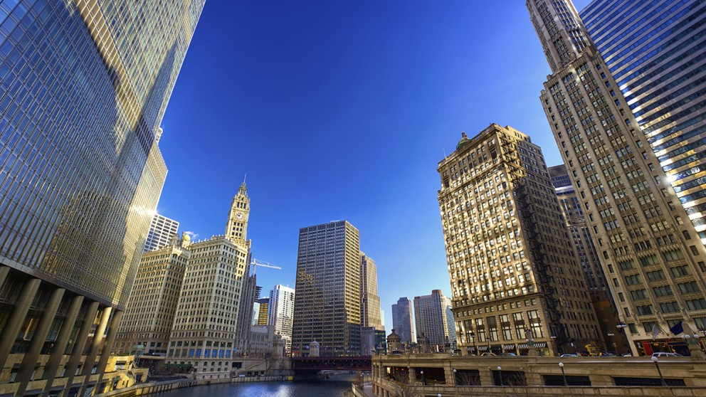 The Chicago river and skyline