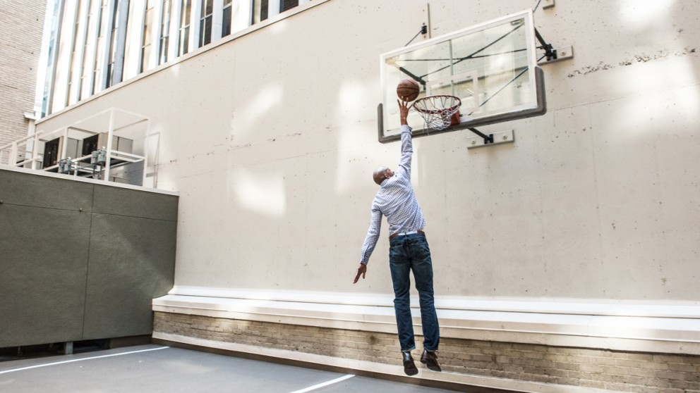 Jarvis dunking a basketball
