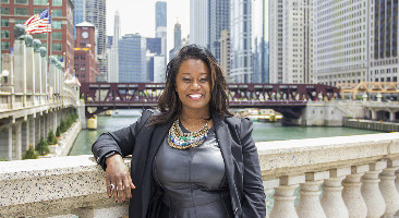 Joyner on Chicago bridge