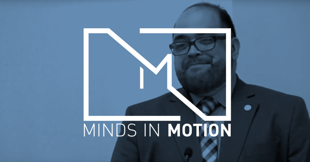 Edward teaching with minds over motion graphic overlay