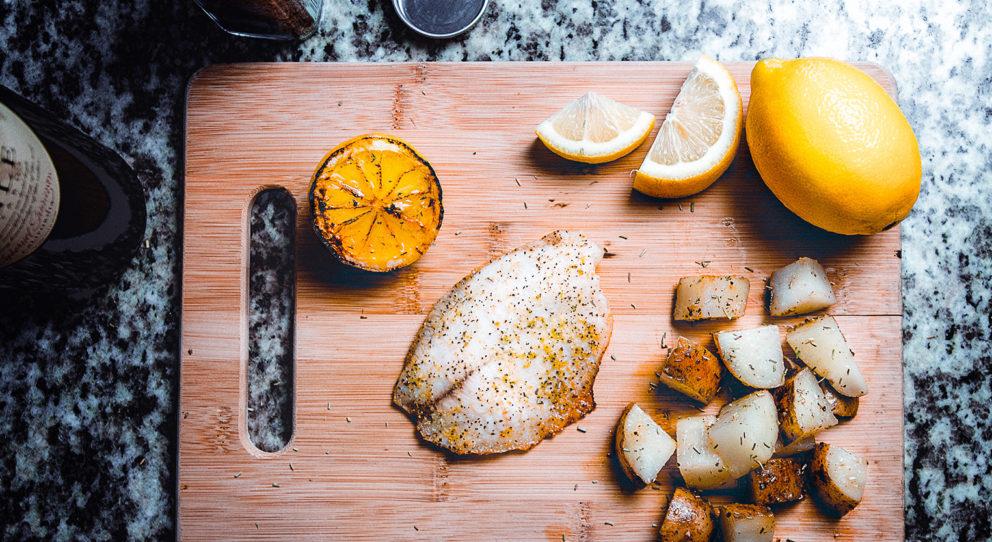 seafood on cutting board