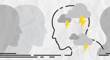 Graphic of heads facing right except one facing left with lightning bolts inside head