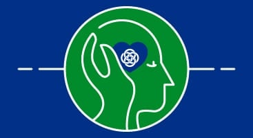blue and green image representing supporting mental health