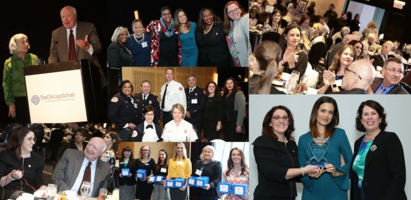 four photo collage of professionals at event